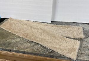 Beige Ivory Mink Bunny Rabbit Fur Long Scarf Stole