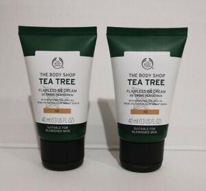 2 x The Body Shop Tea Tree Flawless BB Cream Perfection 03 Dark 40ml Brand New