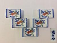 Japanese Porcelain Chopsticks Rest Hashioki Vintage 5pc Signed Arita Ware G409