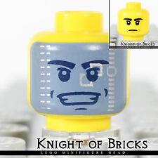 Lego Minifigure Head YELLOW Male Dual Sided Dark Gray Visor Stern Black Eyebrows