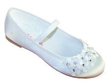 White Girls Kids Satin Flower Girl Ballerina Shoes Bridesmaid Holy Communion New