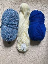 New listing Mixed Lot 3 Skeins Of Yarn Blue White cream