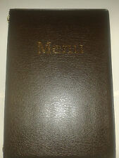 A5 MENU COVER/FOLDER IN DARK BROWN PVC - double pocket fixed WITH gold chord