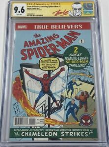 SIGNED BY STAN LEE Amazing SPIDER-MAN #1 CGC 9.6 MARVEL TRUE BELIEVERS Reprint