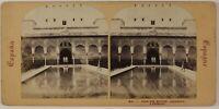 Alhambra Grenade Spagna Foto Stereo PL52n2 Vintage Albumina c1865