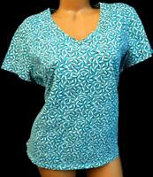 Liz claiborne green beige abstract print v neck short sleeve plus size top 1X