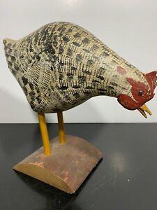 VTG WEK KIRKPATRICK Painted Folk Art Carved Wood Rooster Chicken Bird Statue