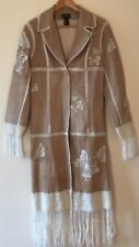 BEBE Leather Suede Embroidered Butterflies Yarn Fringe Long Coat Trench Jacket M