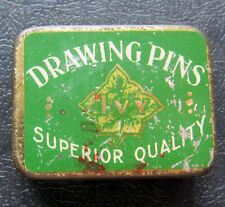 VINTAGE TIN POSSIBLY 1930s IVY DRAWING PINS FILLED WITH PAPER FASTENERS