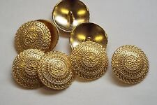 8pc 23mm Bright Gold Turkish Inspired Metal Cardigan Knitwear Button 3359