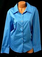 George blue long sleeves women's stretch plus size buttoned down top 22/24W