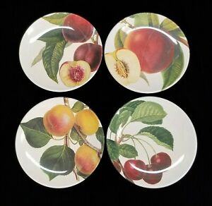 8 Williams Sonoma Melamine Plates Botanical Fruit Pattern, Variety of Fruit