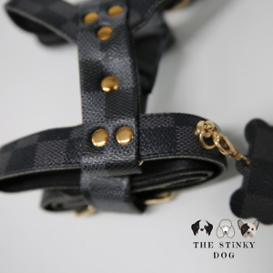 Designer Dog Harness Lead XL XXL Puppy Pet Small Medium Faux-Leather Luxury UK