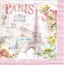 Lot de 4 Serviettes en papier Paris Fleur Vélo pour Decoupage Collage Decopatch
