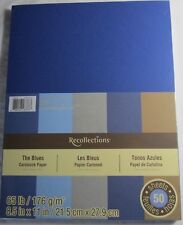 "NEW ~ RECOLLECTIONS ~ CARDSTOCK PAPER ~  8 1/2"" X 11"" ~ THE BLUES ~ 50 SHEETS"