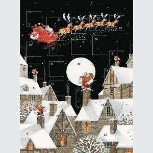 "Traditional Glitter Advent Calendar Santa Over The Moon 12"" x 9"""