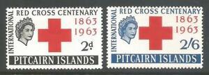 PITCAIRN ISLANDS   1963   QEII   MVLH   Red Cross Centenary  Set of 2  SG34-35