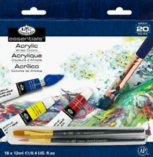 Artists Acrylic Painting Set With Brushes 18 X 12ml Assorted Colour Tubes Craft