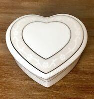 Wedgwood Icing Bone China Heart Shape Trinket Box With Lid
