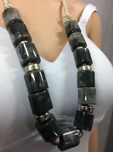 Chico's Beautiful Rope As Chain With Marbleized Green Beads