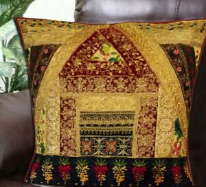 """24"""" Cushion Cover Patchwork Pillow Case Handmade Sofa Home Decor Embroidered"""