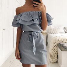 Women Summer Ruffle Off Shoulder Holiday Evening Party Cocktail Short Mini Dress