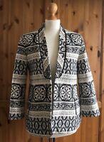 ZARA Small 8 10 Black White Monochrome Embroidered Blazer Jacket Ethnic Career