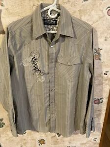 Authentic Montana Western Wear  Pearl Snap Button Up Shirt Large