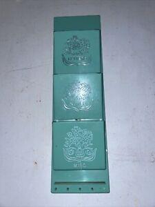 Vintage Plastic Blue Fesco Letter Mail Bill Sorter 3 Slot Holder Mid Century