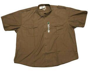 NWT Cabelas Safari Series Mens Shirt 4XL Brown Short Sleeve