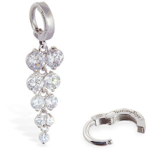 TummyToys Silver Navel Ring with Glittering CZ Grape Cluster Drop [TT-69041]