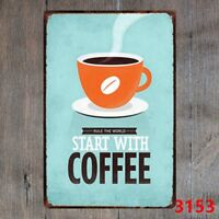 Metal Tin Sign rule the world start with coffee Decor Bar Pub Home Vintage Retro