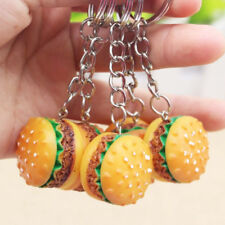 Novelty Food Resin Hamburger Key Ring - 3D Burger Car Auto Keychain Pendant Gift