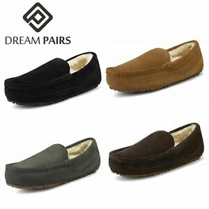 Men's Suede sheepskin fur Moccasin Slippers Loafers Moc Toe Slip On Casual Shoes
