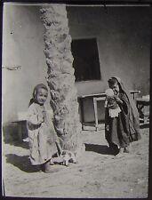 Glass Magic Lantern Slide CHILDREN AT TOZEUR C1910 PHOTO TUNISIA