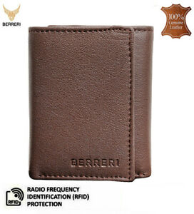 Mens Leather Wallet RFID Protected Trifold Card ID Holder with Gift Box UK Stock