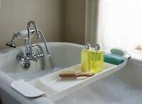 Bathroom Bath Caddy Expandable Holder Tray Over Bath Tub Shelf Support Plastic