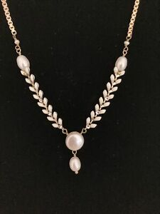 """Gold Plated faux pearl necklace by Satallite 12"""" adjustable chain"""