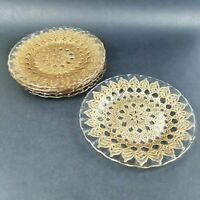 Artistic Accents Gold Lace Clear Scalloped Glass Salad Plates Set of 6 Holiday