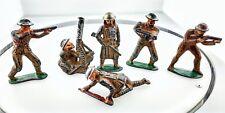 Set of 6 Antique Vintage Manoil Lead Metal WWI Toy Soldiers