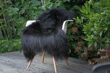 Genuine Natural Icelandic black Sheepskin Rug 2 W X 3.5 L Long wool ,super soft