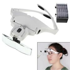 Head Magnifier with 2 LED Lights Magnifying Glass Hands Free Lamp Headband S247