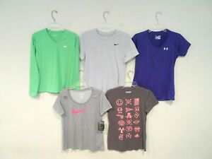 Lot 5 Nike Under Armour & Adidas Women's Shirt Size Medium Workout Athletic Top