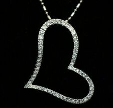 "EXQUISITE SOLID STERLING SILVER NECKLACE - 18 INCH -  ZIRCON XL 3"" HEART PENDANT"