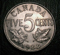 Old Canadian Coins 1922 Canada 5 Cents BEAUTY