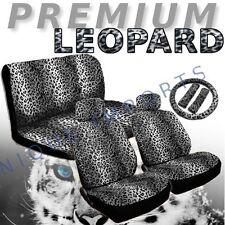 Snow Leopard 11pc Car Seat Covers Animal Gray Pair Bench Steering Wheel CS1
