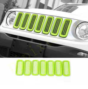 FOR jeep Renegade 2015-2019 ABS green Front Grille Grill Ring Cover Trim 7pcs