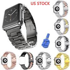 US Stainless Steel Link Band for Apple Watch Series 5 4 3 2 Strap Belt Bracelet