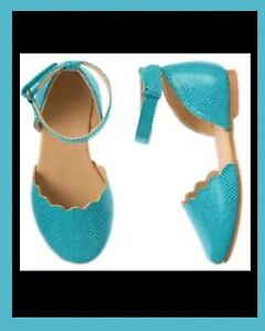 """NWT 7 Gymboree """"SEASIDE STROLL"""" Turq/iridescent Scallops Ankle strap Dress SHOES"""