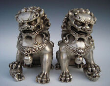 Rare Chinese Silver Guardian Lion Foo Fu Dog Statue Pair